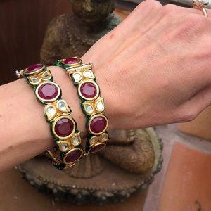 Custom Gold, Ruby, Diamond & Enamel bangle set